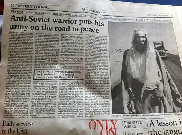 Osama bin Laden, reported on favorably in the U.K.'s The Independent in 1993 (Credit: Imgur)