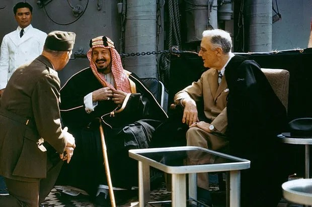 FDR meeting with King Ibn Saud on Feb. 14, 1945 (Credit: Public Domain/Wikimedia Commons)