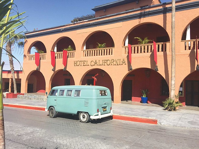 Tom's bus parked outside Hotel California in Todos Santos