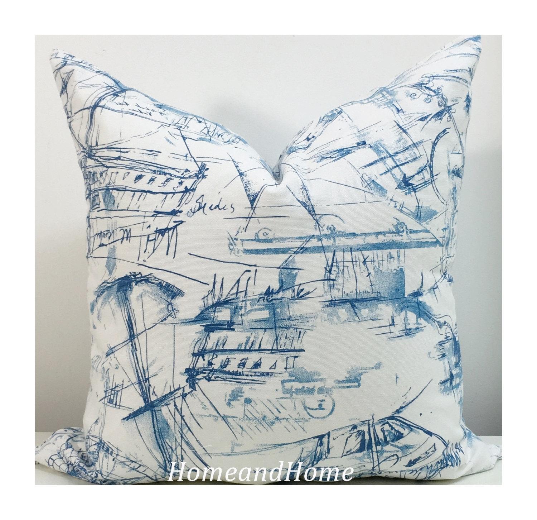 zipper pillow cover schooner nautical accent shades blue white pillow cover decorative throw pillow 12x16 16x16 18x18 20x20