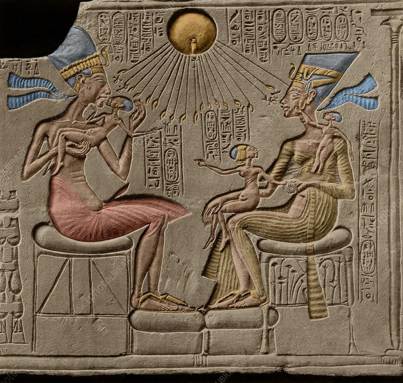 Akhenaten, nefertiti and three of their daughters. Egyptian Pharaoh Akhenaten And Nefertiti Stock Image C043 9654 Science Photo Library