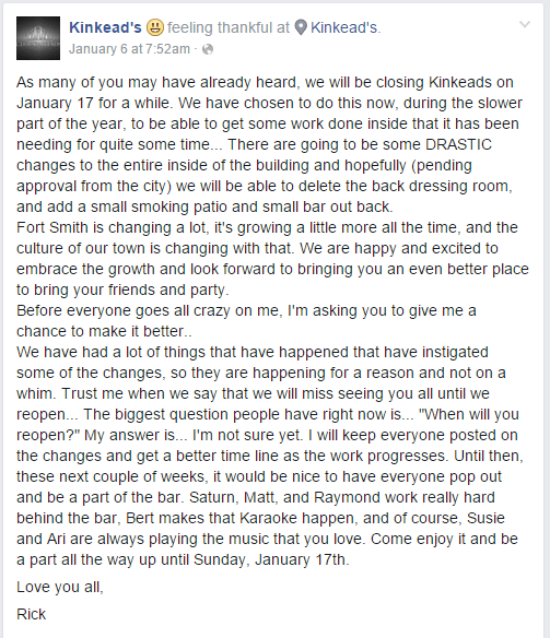 kinkeads closing notice from rick