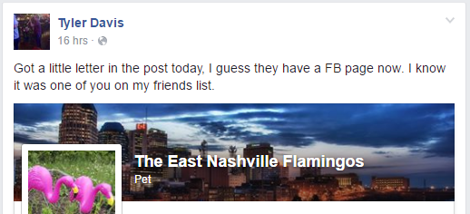 tyler davis facebook post letter in the mail pink flamingos