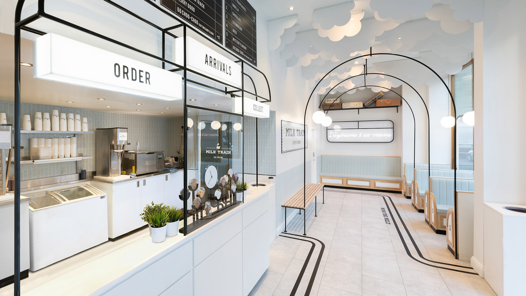 This Art Deco Railway-Themed Ice Cream Shop Would Suit