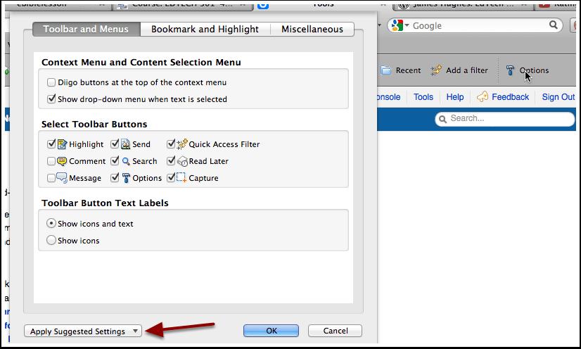 Customize Your Diigo Toolbar and Menus