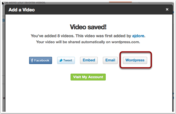 Click WordPress button to add to your Learning Log.