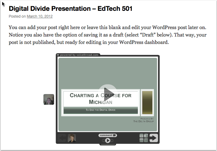 Your published post with embedded VoiceThread!