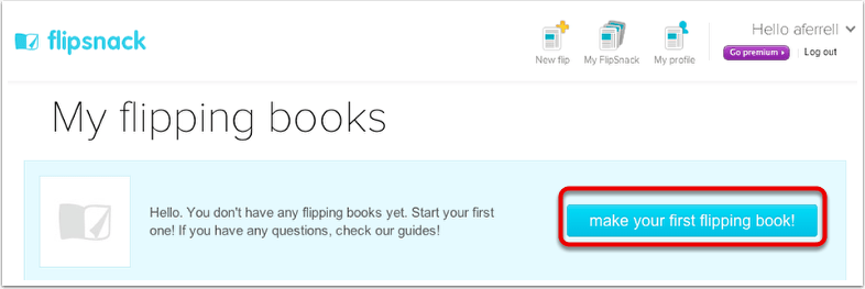 Choose make your first flipping book