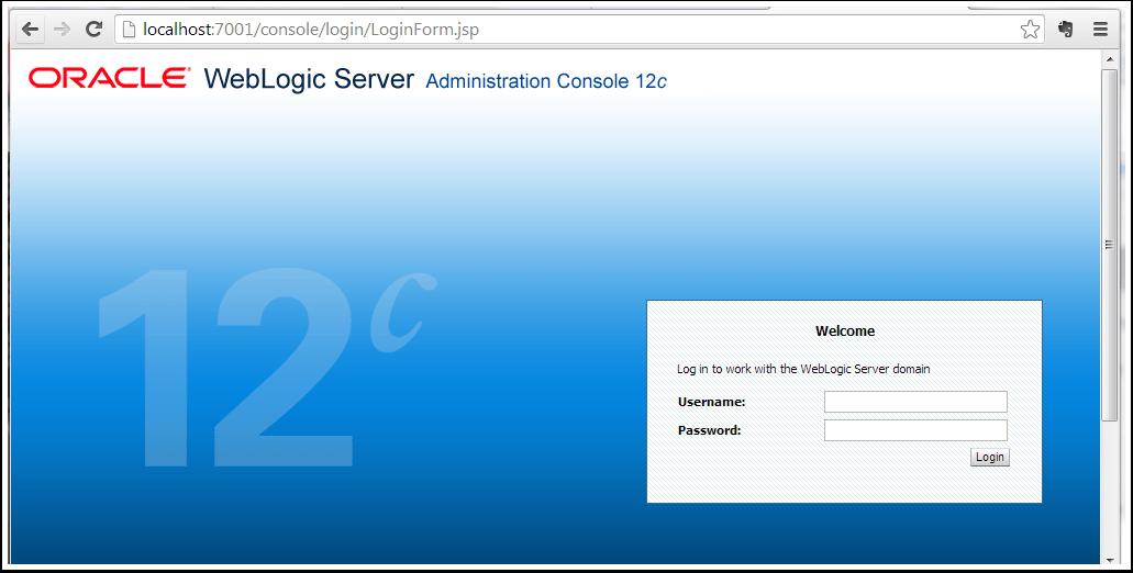 Oracle WebLogic Server Administration Console - Google Chrome from Host Windows Machine