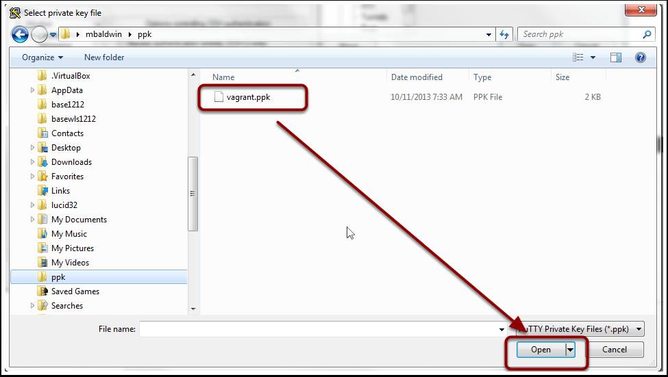Select private key file