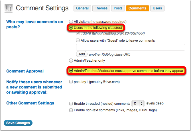 Step 8 - Comment settings