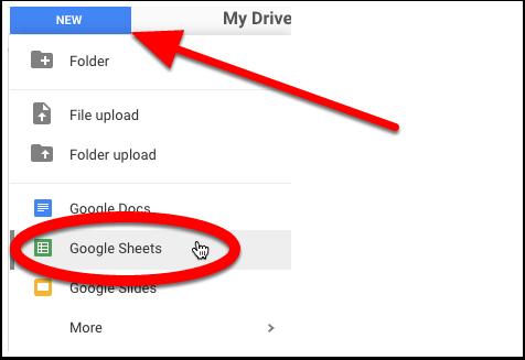 Step 1 - Create a new spreadsheet
