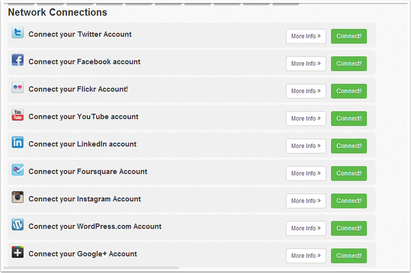 Connecting your social networks .. Facebook/Twitter/G +