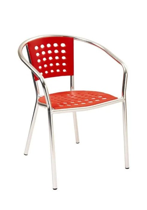 stackable aluminum patio arm chair with polypropylene seat and back