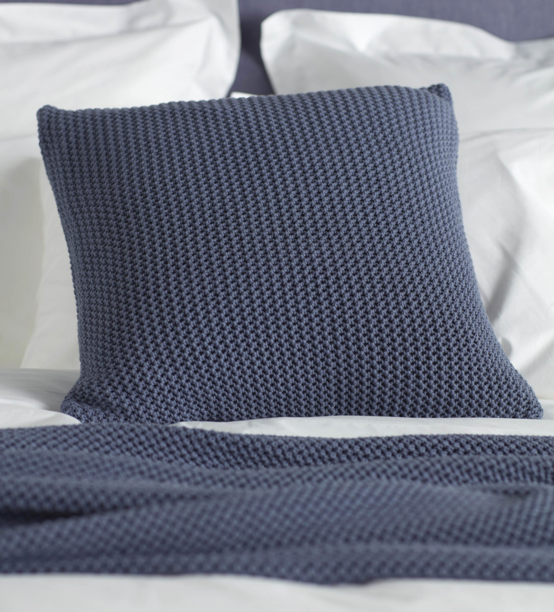 knitted blue cotton cushion cover secret linen store