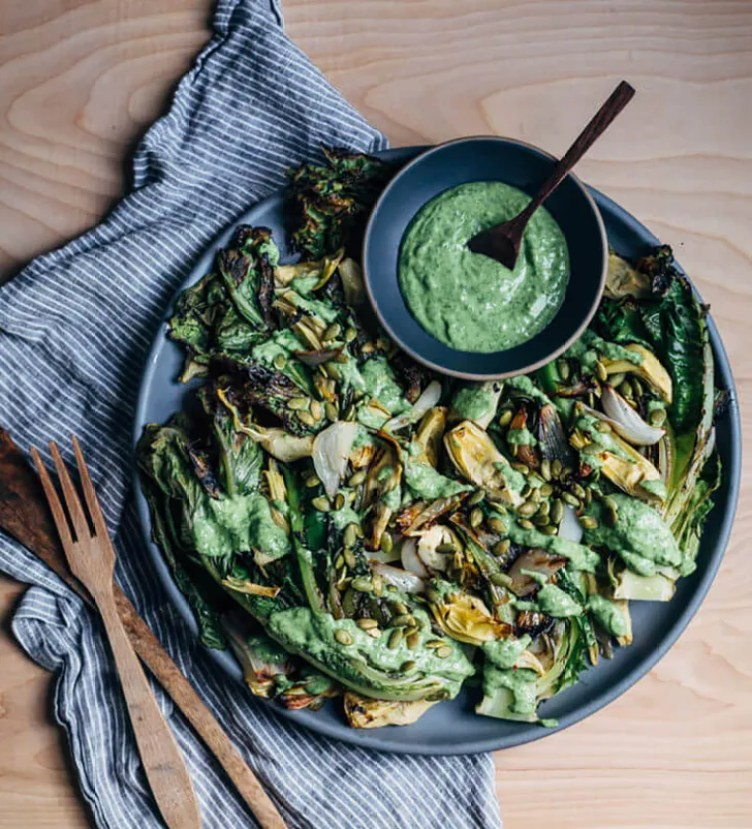 Grilled Romaine Salad With Avocado-Kefir Green Goddess from Brooklyn Supper