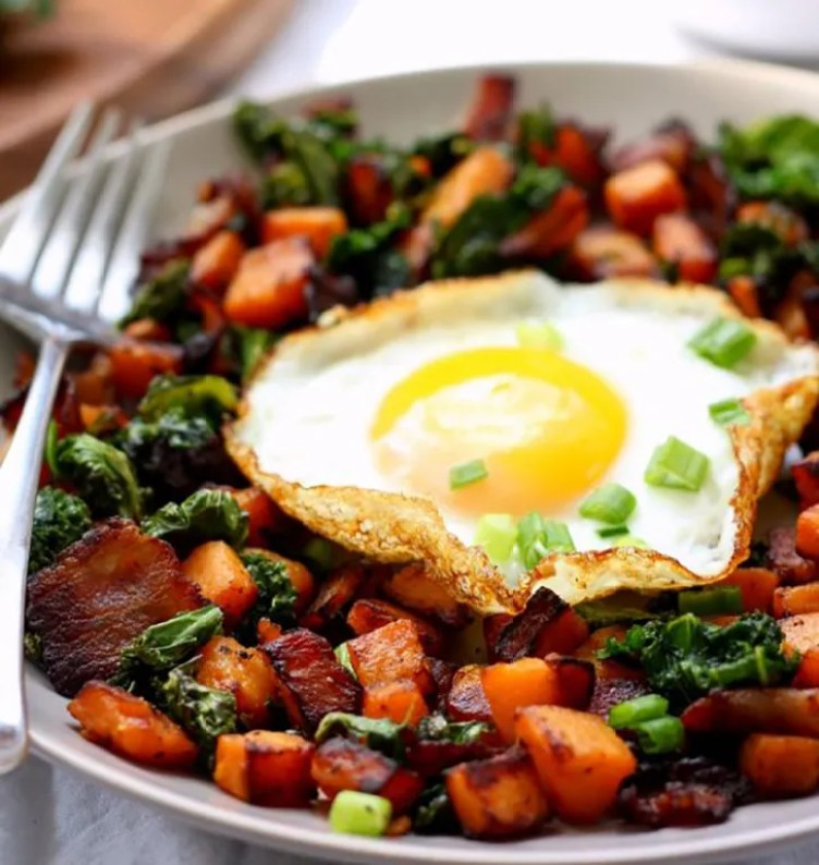 Sweet Potato, Bacon, and Kale Hash from Paleo Running Momma