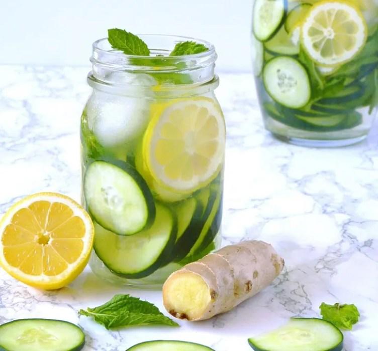 Cucumber Lemon Ginger Water from Living Fresh Daily