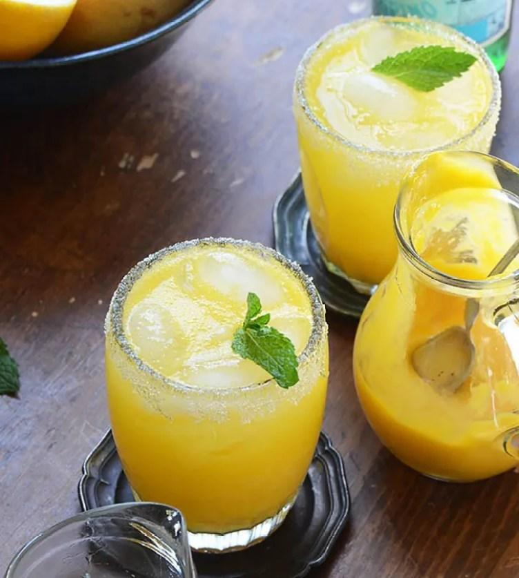 Mango Meyer Lemon Margarita Mocktails from An Edible Mosaic