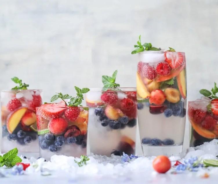 Rainbow Coconut Water Spritzes from How Sweet Eats