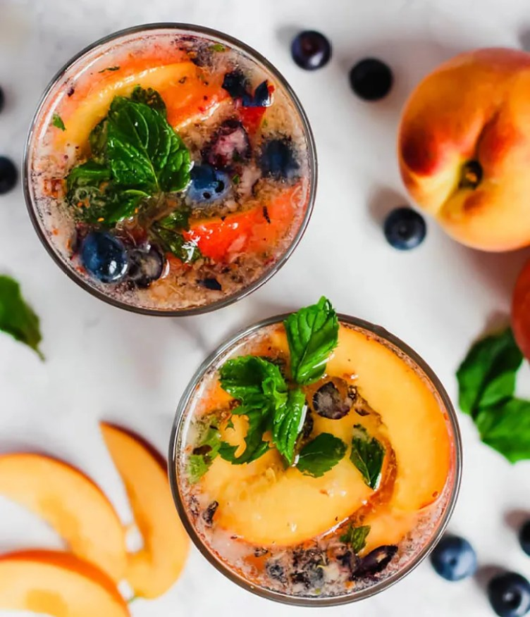 Peach Blueberry Sangria Mocktails from Emilie Eats