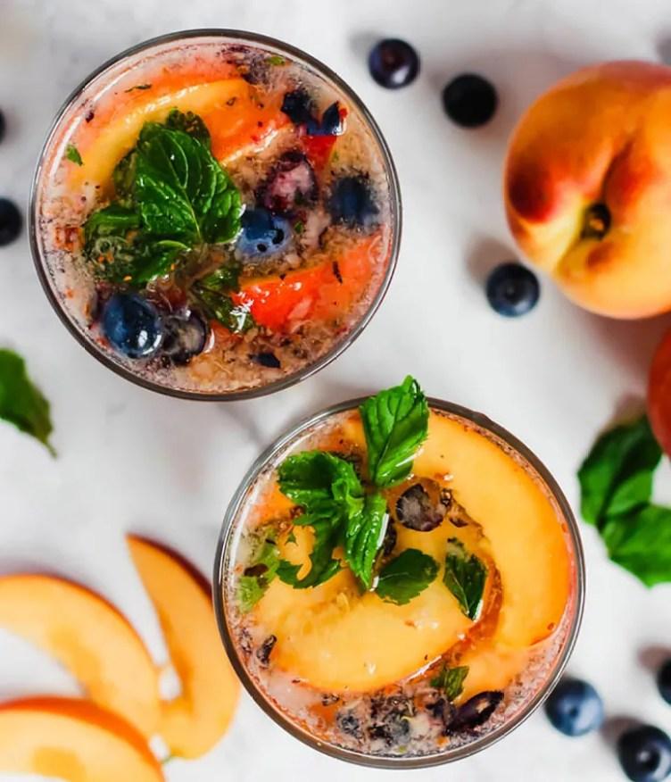 Peach Blueberry Sangria Mocktails from Emilie Eats