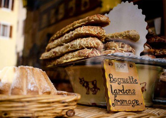 Baguettes in a bakery window