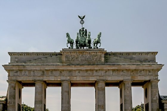 A daytime shot of the famous Brandenburg Gate in Berlin, Germany