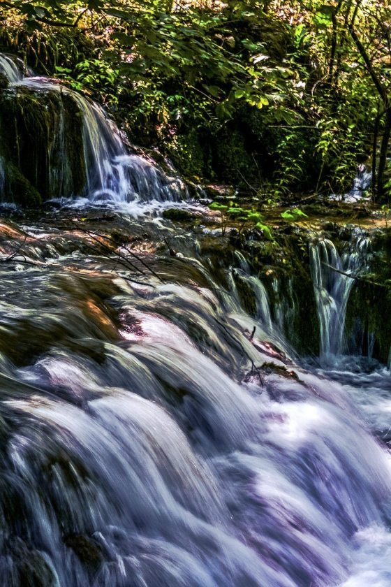 Timelapse image of a stream with vibrant colors