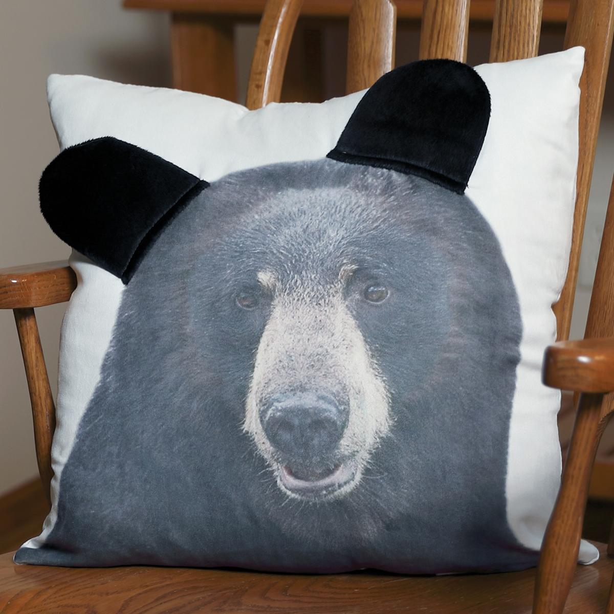 3d black bear pillow