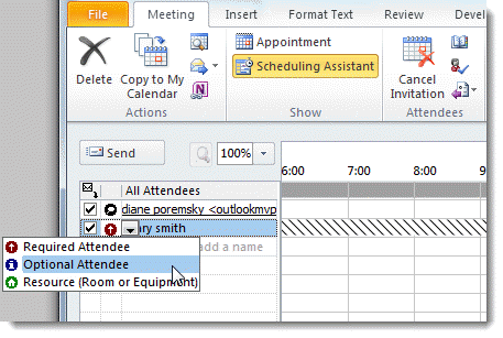 Use The Scheduling Assistant To Select Invitees