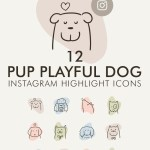 12 Pup Playful Dog Instagram Story Highlight Icons