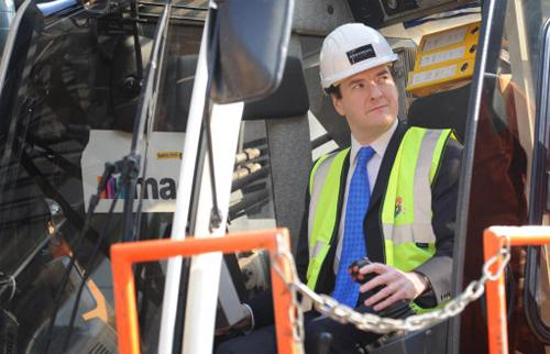 George Osborne helps to start work on the new 5 Broadgate development in the City Of London. Image (C) Stefan Rousseau/PA Wire