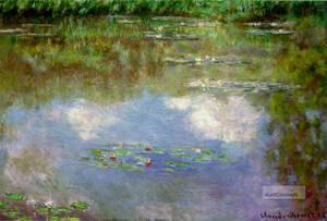 Water Lilies av Claude Monet från 1903 är till stor del målad med duttar, så kallad pointilism. Fick vi lära oss.