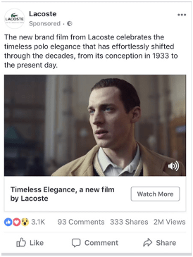 lacoste facebook video ad