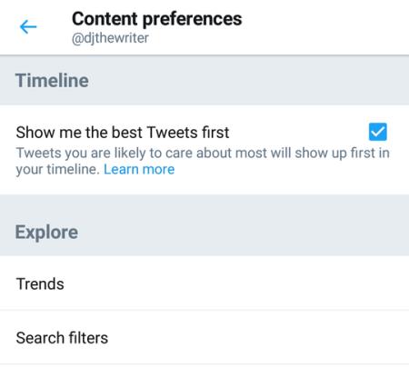 Twitter feed settings