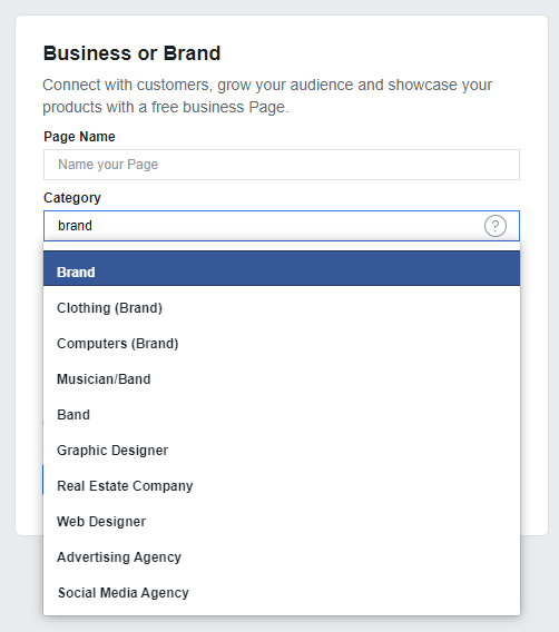 Facebook business Page categories