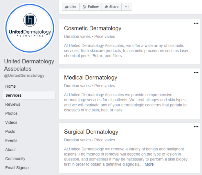 Facebook business page services examples