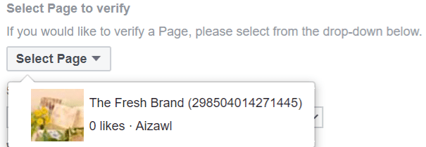 Option to select the Page to verify on Facebook