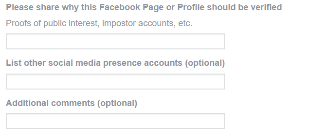 fields to justify why your Facebook Page should get verified