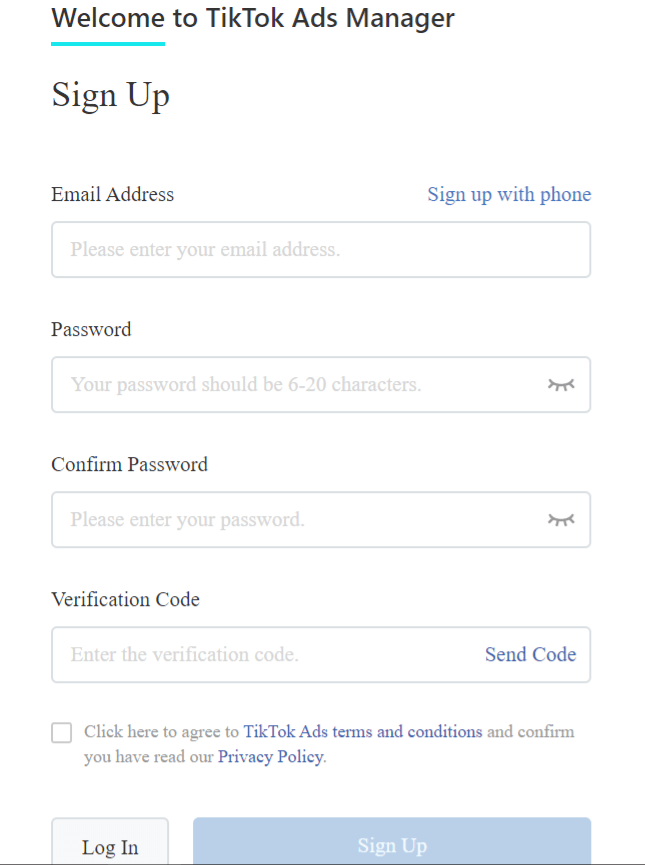 tiktok ads manager second step signup