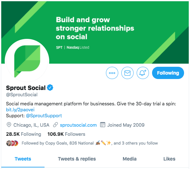 Here's an example of a complete Twitter profile, suitable for verification.