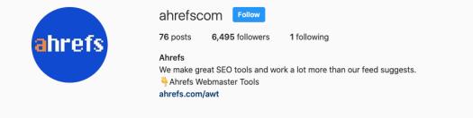 ahrefs IG bio including CTA to click on their link