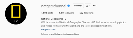 Instagram bio for National Geographic TV with a profile photo highlighting the channel's yellow rectangle logo