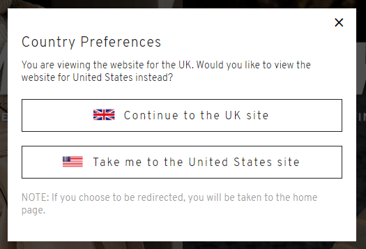 Screenshop of Topshop's international marketing country preference and asks which country's website you'd like to visit: UK or US?