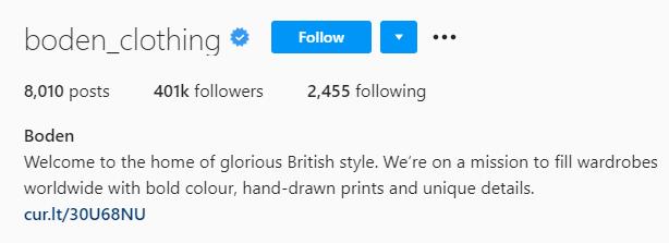 boden instagram bio