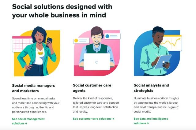 Sprout Social-startpagina die de verschillende doelgroepen illustreert die we bedienen.