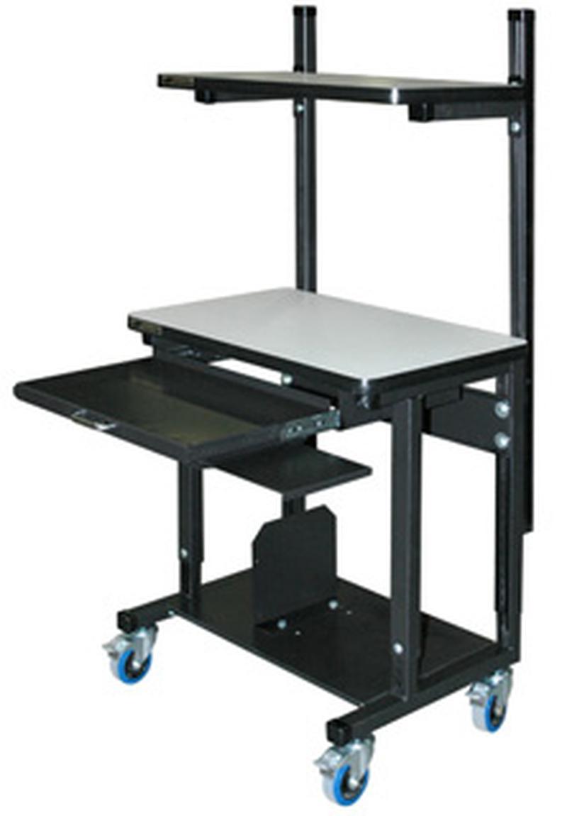 Stackbin Workbenches Mobile Computer Desk W Top Shelf