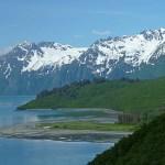 Vy från vandringsleden till Shoup Bay. Valdez