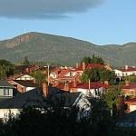 Vy över Hobart. Tasmanien